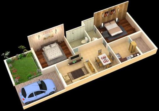 Bật mí cho bạn phương án bố trí nội thất mẫu nhà cấp 4 có đến 2 phòng ngủ rộng rãi và tiện nghi chỉ với số tài chính 200 triệu.