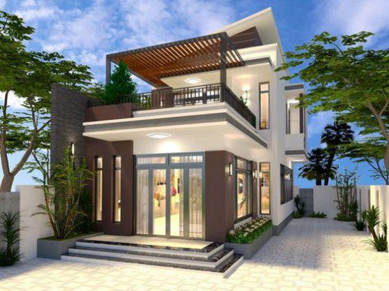Xu hướng thiết kế nhà 2 tầng mái lệch đẹp nhất hiện nay