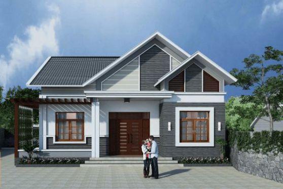 Thiết kế kiến trúc nhà cấp 4 mái thái diện tích 110m2
