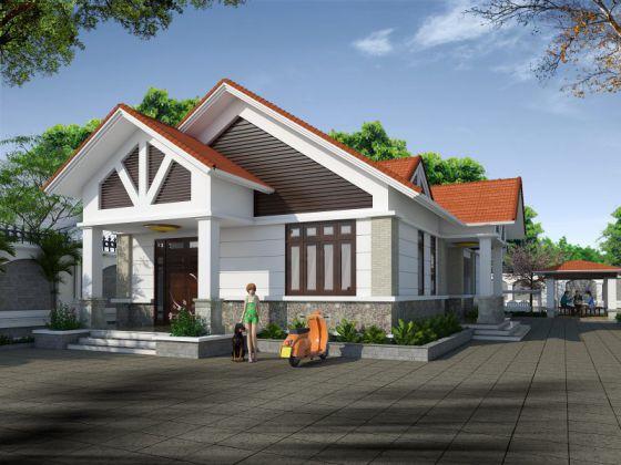 Thiết kế kiến trúc nhà cấp 4 mái thái diện tích 120m2