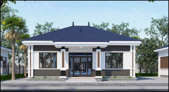 Thiết kế kiến trúc nhà cấp 4 mái thái diện tích 130m2