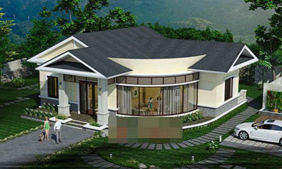 Thiết kế kiến trúc nhà cấp 4 mái thái hiện đại có 2 mặt tiền