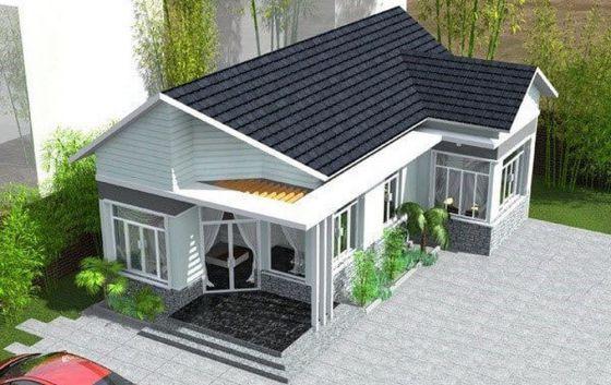 Thiết kế kiến trúc nhà cấp 4 mái thái sang trọng có 3 phòng ngủ