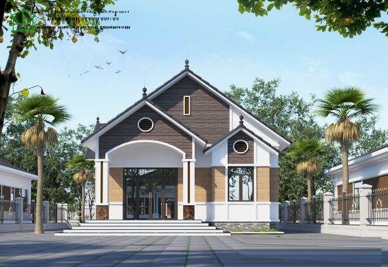 Thiết kế kiến trúc nhà cấp 4 mái thái sang trọng có 4 phòng ngủ