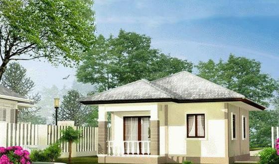 Thiết kế kiến trúc nhà cấp 4 mái thái diện tích 50m2