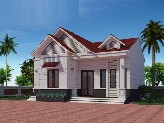 Thiết kế kiến trúc nhà cấp 4 mái thái diện tích 70m2