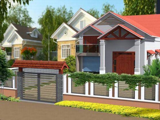 Thiết kế kiến trúc nhà cấp 4 mái thái kết hợp gara