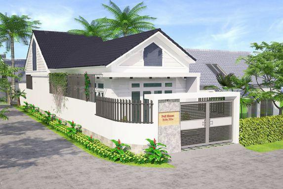 Thiết kế kiến trúc nhà cấp 4 mái thái lợp mái ngói đẹp