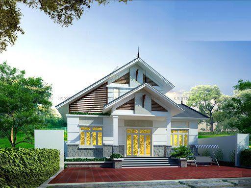 Thiết kế kiến trúc nhà cấp 4 mái thái hiện đại mặt tiền 12m