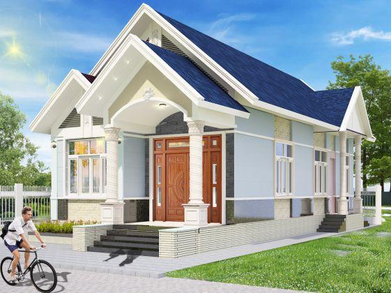 Thiết kế kiến trúc nhà cấp 4 mái thái hiện đại mặt tiền 6m