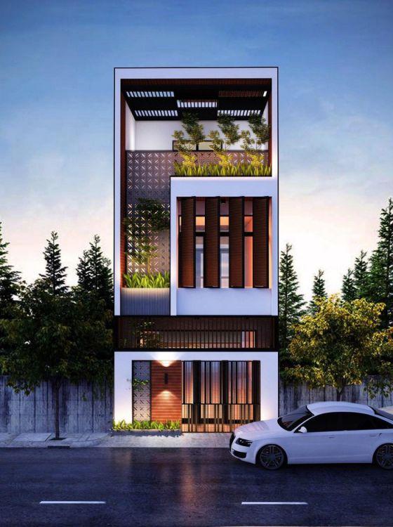 Phong cách mặt tiền nhà phố 3 tầng 5m