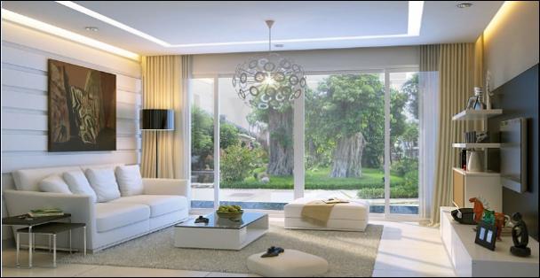 Phong cách mẫu phòng khách bằng kính đẹp