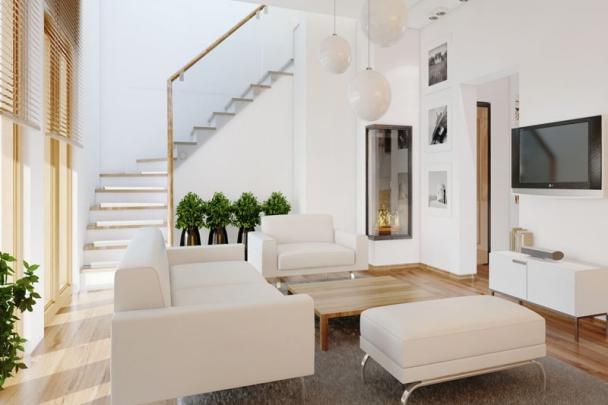 Xu hướng mẫu phòng khách màu trắng đẹp