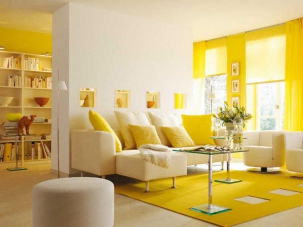 Xu hướng mẫu phòng khách màu vàng đẹp