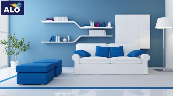 Xu hướng mẫu phòng khách màu xanh dương