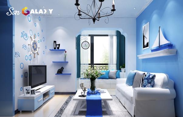 Xu hướng mẫu phòng khách màu xanh đẹp