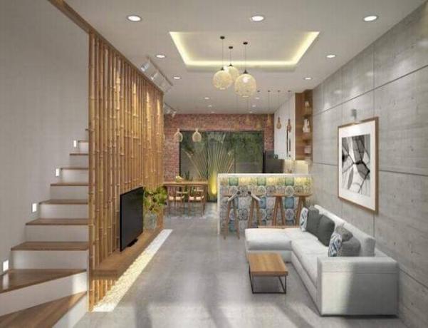Mẫu thiết kế phòng khách dành cho căn nhà ống đẹp - Hình 2