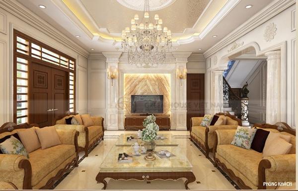 Mẫu thiết kế phòng khách phong cách cổ điển đẹp - Hình 2