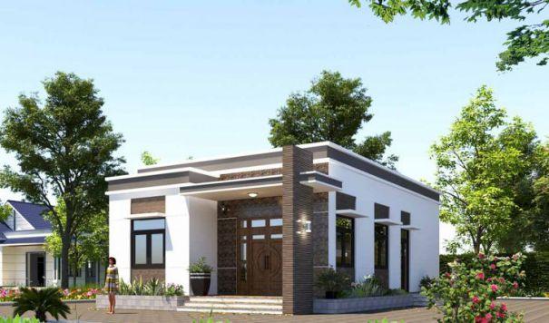 Mẫu thiết kế nhà cấp 4 đẹp 3 phòng ngủ phong cách mái bằng đẹp