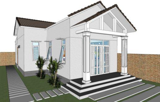 Xu hướng thiết kế nhà cấp 4 đẹp lợp mái tôn diện tích 5x20m - Mẫu 1