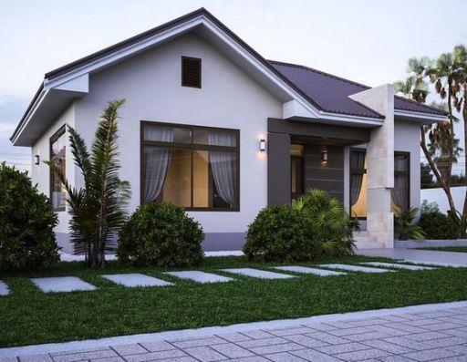 Phong cách thiết kế nhà cấp 4 đẹp lợp mái tôn hình chữ L - Mẫu 2