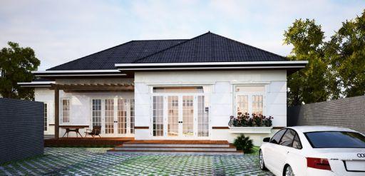 Những thiết kế nhà cấp 4 đẹp lợp mái tôn giả ngói đẹp - Mẫu 1