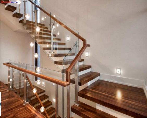 Mẫu cầu thang gỗ nam phi đẹp hiện nay - Hình 2