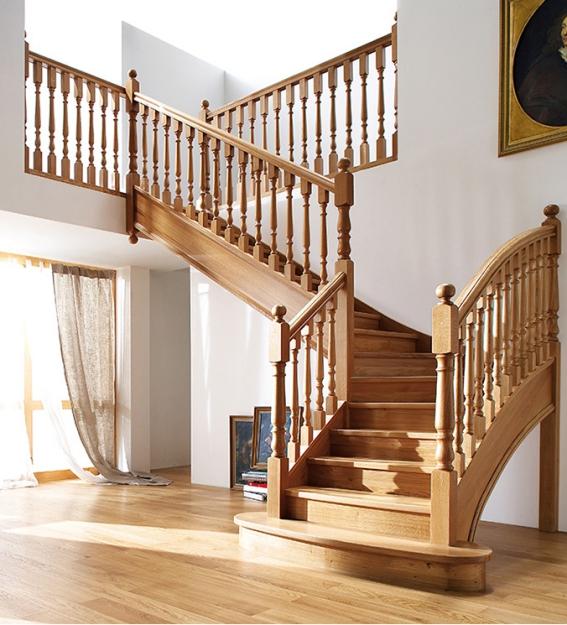Mẫu cầu thang gỗ tự nhiên đẹp hiện nay - Hình 1