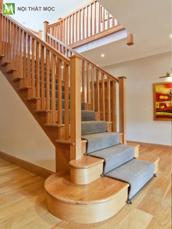 Mẫu cầu thang gỗ tự nhiên đẹp hiện nay - Hình 2