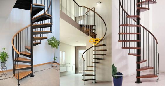 Thiết kế cầu thang xoắn bằng sắt đẹp nhất hiện nay - Mẫu 2