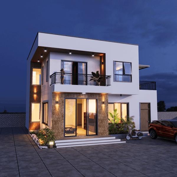 Giới thiệu thiết kế biệt thự mái bằng 2 tầng đẹp