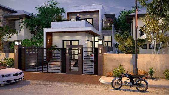 Mẫu thiết kế nhà cấp 4 có gác lửng mái bằng - Hình 1