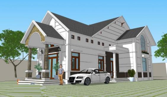 Mẫu thiết kế nhà cấp 4 có gác lửng mái thái - Hình 2