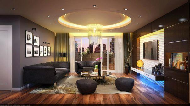 Thiết kế nội thất trần thạch cao giật cấp hình trọn đẹp hiện nay - Mẫu 2