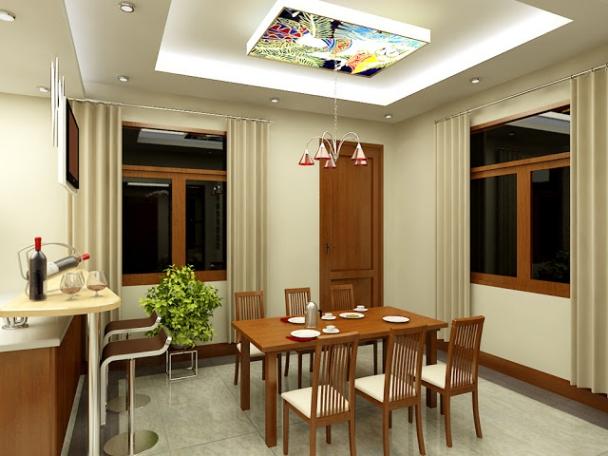 Những kiểu trần thạch cao giật cấp cho phòng bếp hiện đại - Mẫu 1