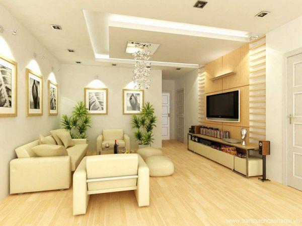 Mô hình trần thạch cao giật cấp cho phòng khách sang trọng - Thiết kế số 1