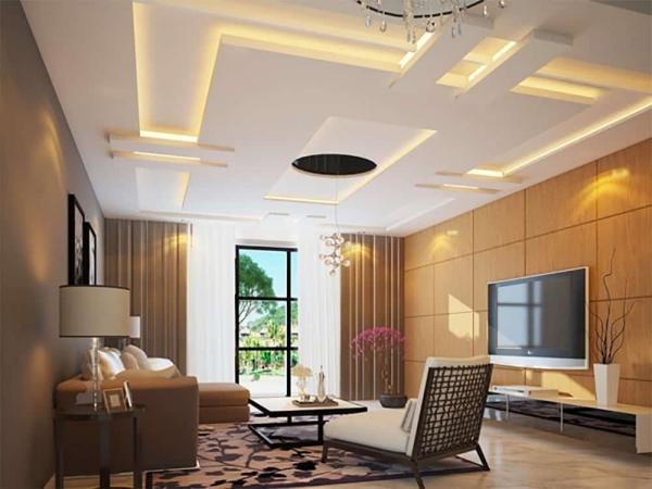 Mô hình trần thạch cao giật cấp cho phòng khách sang trọng - Thiết kế số 5