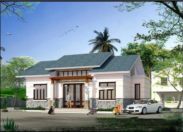 Mẫu thiết kế nhà cấp 4 100m2 có 3 phòng ngủ 1 phòng thờ - Hình 1