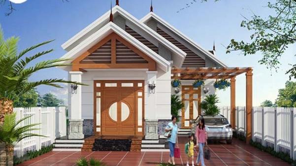 Mẫu nhà cấp 4 mái thái có 3 phòng ngủ 1 phòng thờ - Hình 1