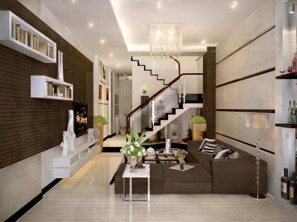 Tạo điểm nhấn trong thiết kế nội thất phòng khách nhà ống