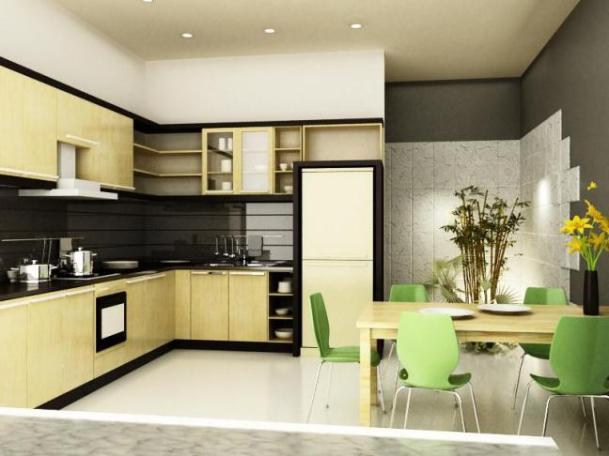 Mẫu thiết kế phòng bếp nhà ống 1 tầng