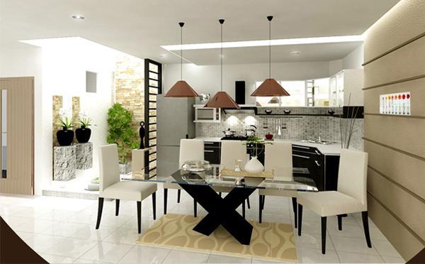 Mẫu thiết kế phòng bếp nhà ống 2 tầng đẹp