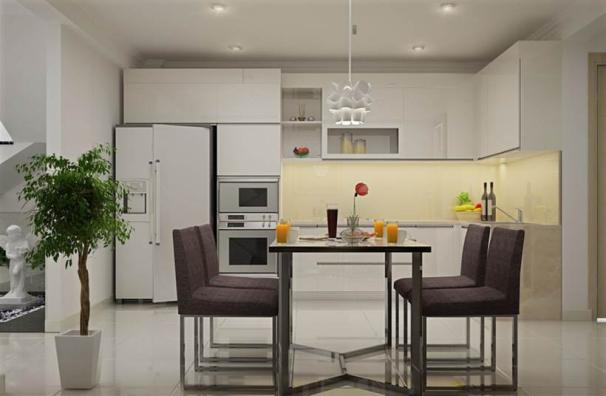 Mẫu thiết kế phòng bếp nhà ống 3 tầng hiện đại