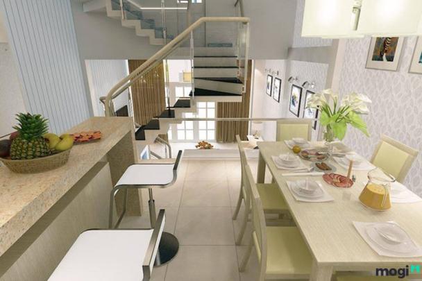 Ấn tượng với mẫu phòng bếp nhà ống lệch tầng đẹp