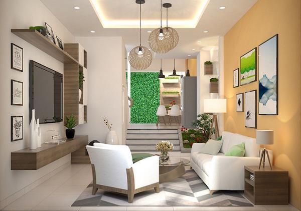 Mẫu thiết kế phòng khách nhà ống 1 tầng
