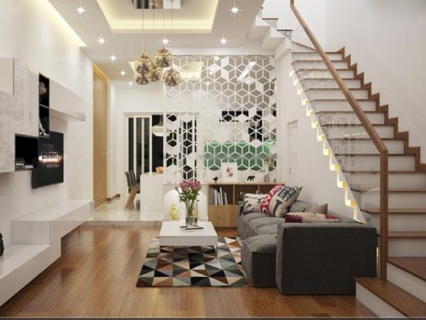 Mẫu cầu thang dọc nhà