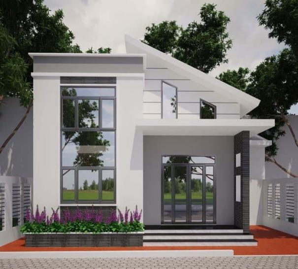 Mẫu thiết kế nhà phố 1 tầng có 2 phòng ngủ