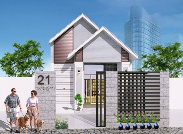 Mẫu thiết kế nhà phố 1 tầng có 3 phòng ngủ