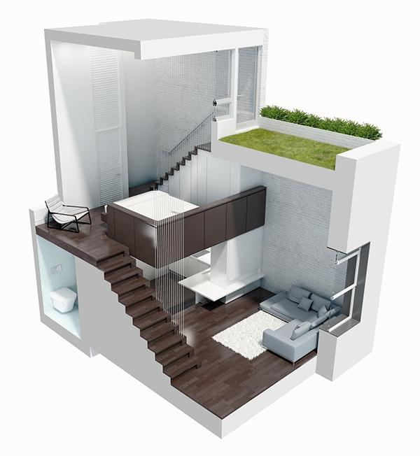 Mẫu thiết kế nhà phố 1 tầng diện tích 40m2