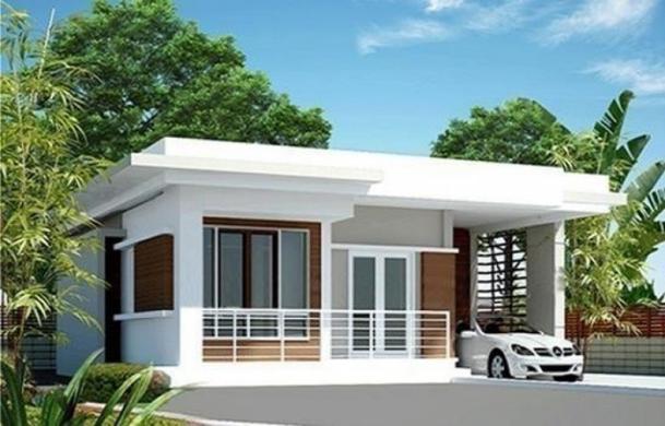 Mẫu thiết kế nhà phố 1 tầng kiểu mái bằng đẹp